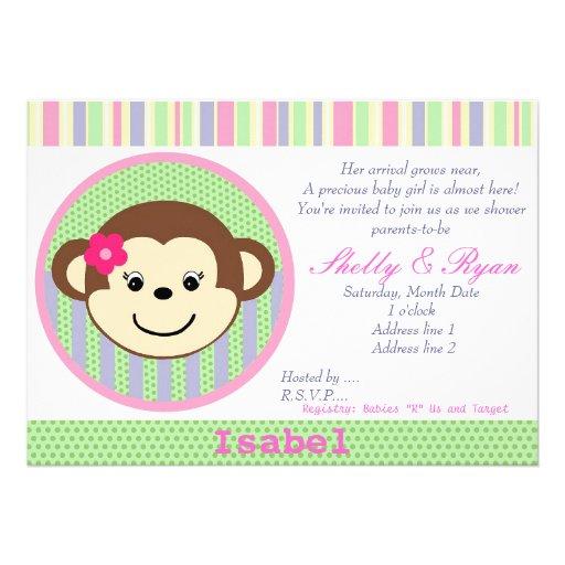 600 girl monkey baby shower invitations girl monkey baby shower
