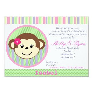 "Monkey Baby Girl Shower Invitation 5"" X 7"" Invitation Card"