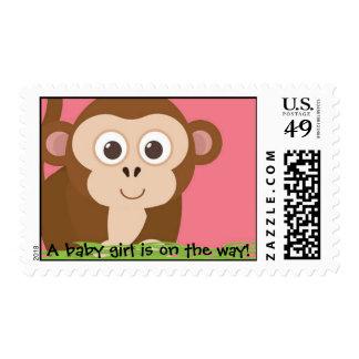 Monkey baby girl stamp