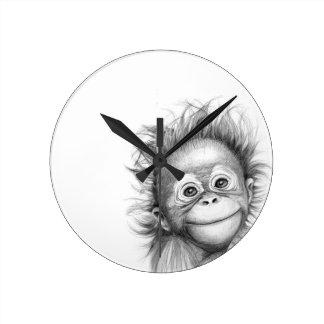 Monkey - Baby Orang outan 2016 G-121 Round Clock