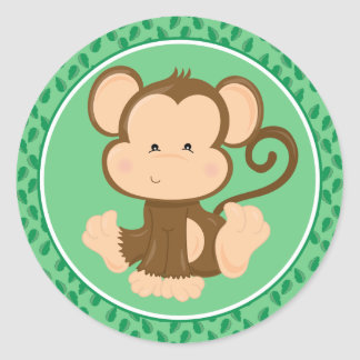Monkey   Baby Safari Animals Classic Round Sticker