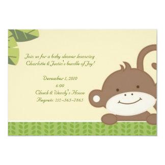 monkey; baby shower 5x7 paper invitation card