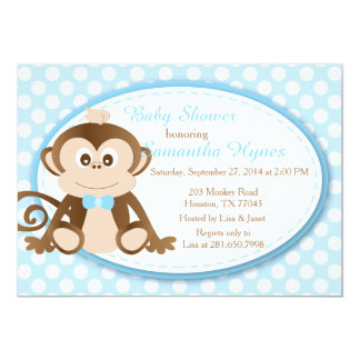 Monkey Baby Shower/Birthday Invitation-Boys Personalized Invitation
