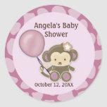 Monkey Baby Shower blank label/seal CJ-Orchid #02 Sticker