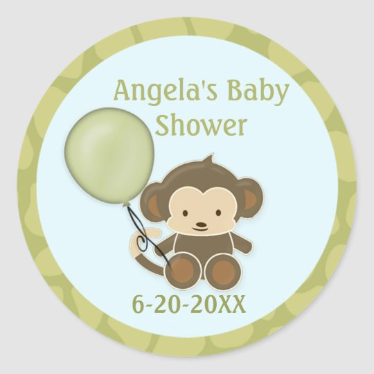 Monkey Baby Shower blank labels/seals CA-Blue #2B Classic Round Sticker
