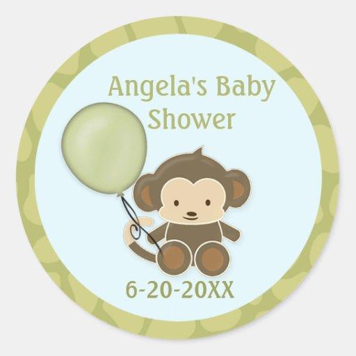 Monkey Baby Shower blank labels/seals CA-Blue #2B Round Stickers