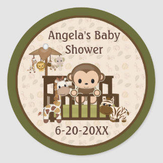 Monkey Baby Shower blank labels/seals NALI NJM #01 Stickers