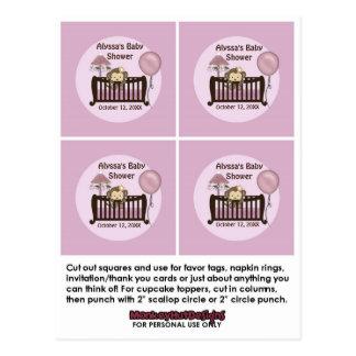 MONKEY Baby Shower Crib Cupcake Toppers CJ-O 2 Postcards
