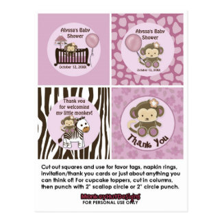 MONKEY Baby Shower Crib Cupcake Toppers Tags CJ-O Post Cards