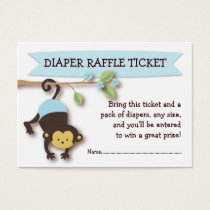 Monkey Baby Shower Diaper Raffle Ticket Insert