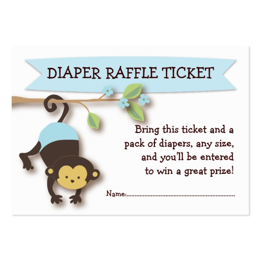 monkey baby shower diaper raffle ticket insert large business cards