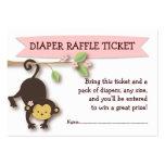 Monkey Baby Shower Diaper Raffle Ticket Insert Business Card