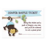 Monkey Baby Shower Diaper Raffle Ticket Insert Large Business Cards (Pack Of 100)