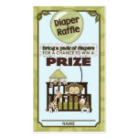 Monkey Baby Shower DIAPER RAFFLE TICKETS CA-Blue Double-Sided Standard Business Cards (Pack Of 100)