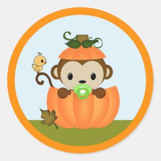 MONKEY Baby Shower Fall Pumpkin BOY seal round