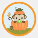 MONKEY Baby Shower Fall Pumpkin BOY seal round Classic Round Sticker