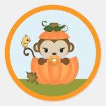 MONKEY Baby Shower Fall Pumpkin GIRL seal round Classic Round Sticker