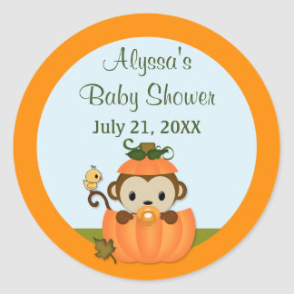 MONKEY Baby Shower Fall Pumpkin NEUTRAL round seal