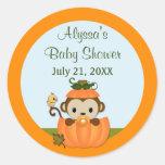 MONKEY Baby Shower Fall Pumpkin NEUTRAL round seal Classic Round Sticker