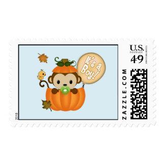 MONKEY Baby Shower Fall Pumpkin postage BOY