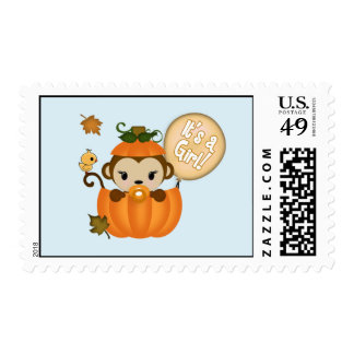 MONKEY Baby Shower Fall Pumpkin postage GIRL