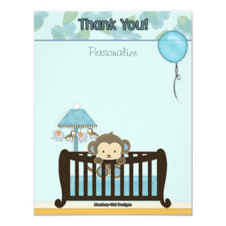 Monkey Baby Shower FLAT#1 Thank You BLUE Card
