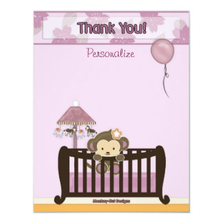 Monkey Baby Shower FLAT#1 Thank You ORCHID Card