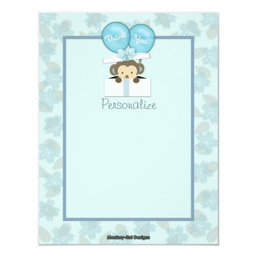 Monkey Baby Shower FLAT#2 Thank You BLUE Announcement