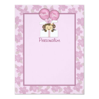 Monkey Baby Shower FLAT#2 Thank You ORCHID Card