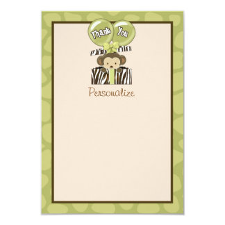 """Monkey Baby Shower FLAT Thank You CA 3.5""""x5"""" Personalized Invitations"""