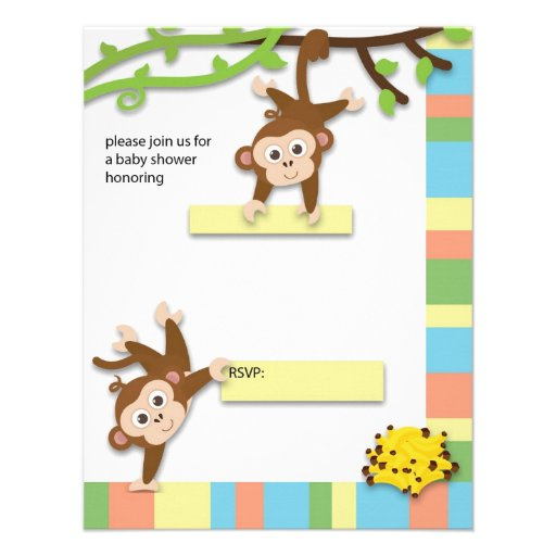 monkey baby shower invitation x 5 5 invitation card zazzle