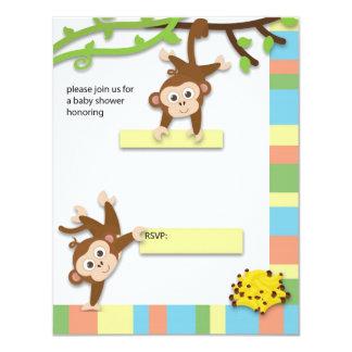 "Monkey Baby Shower Invitation 4.25"" X 5.5"" Invitation Card"