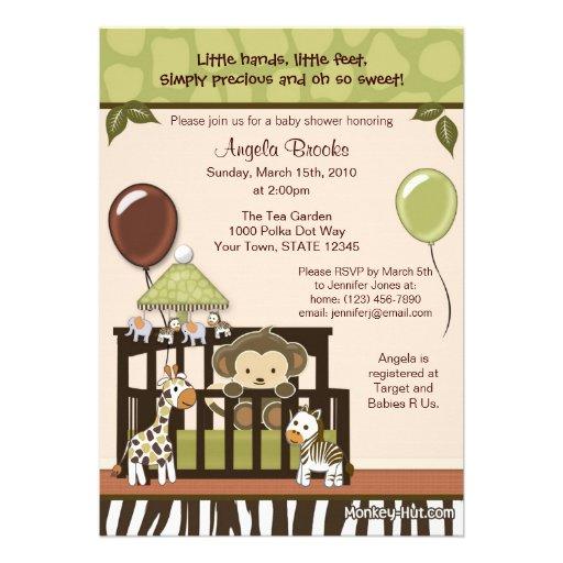 monkey baby shower invitation 5 x 7 invitation card zazzle