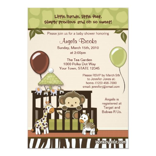 "Monkey Baby Shower Invitation 5"" X 7"" Invitation Card"