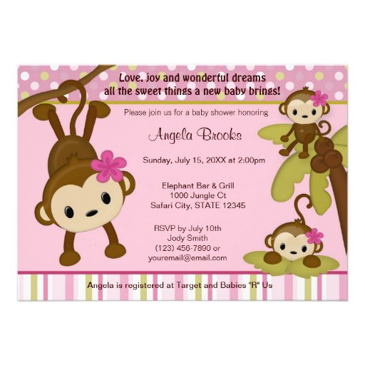 monkey baby shower invitation 3 little monkeys 5 x 7 invitation c