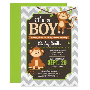 Monkey baby shower invitations zazzle monkey baby shower invitation boy filmwisefo
