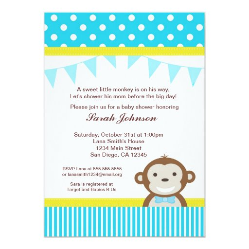 Monkey Baby Shower Invitation - Boy