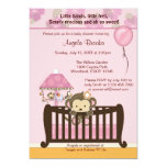 Monkey Baby Shower Invitation CJ PINK