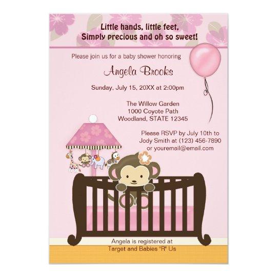 Monkey Baby Shower Invitation Cj Pink Zazzle