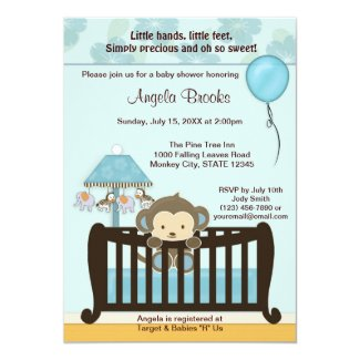 "MONKEY Baby Shower Invitation Crib CJ-BLUE boy 5"" X 7"" Invitation Card"