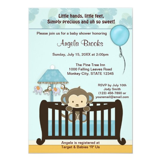 Monkey baby shower invitation crib cj blue boy zazzle monkey baby shower invitation crib cj blue boy filmwisefo