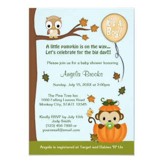 "MONKEY Baby Shower Invitation Fall Pumpkin BOY 5"" X 7"" Invitation Card"