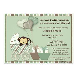 Monkey Baby Shower Invitation GREEN Carriage MPP