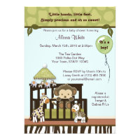 Monkey Baby Shower Invitation jungle safari CA-B