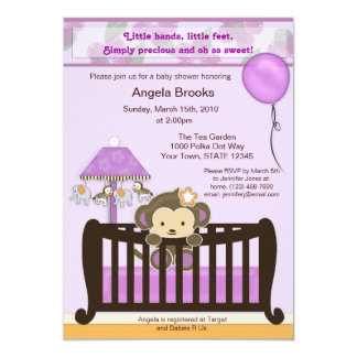 "Monkey Baby Shower Invitation Lavender CJL 5"" X 7"" Invitation Card"