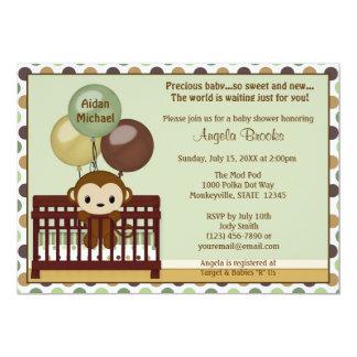 MONKEY Baby Shower invitation Mod Pod Pop Crib MPP