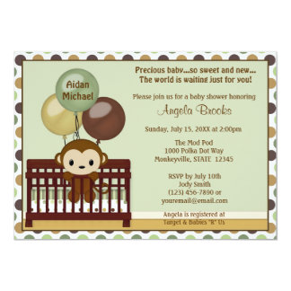 "MONKEY Baby Shower invitation Mod Pod Pop Crib MPP 5"" X 7"" Invitation Card"