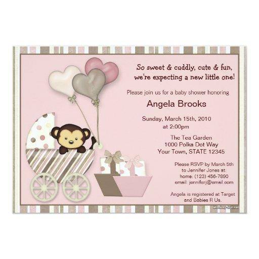 Monkey Baby Shower Invitation PINK