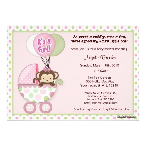 Personalized pink brown baby shower invitations monkey baby shower invitation pink green polka dot filmwisefo