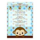 MONKEY Baby Shower invitation Polka Dot BLUE GREEN